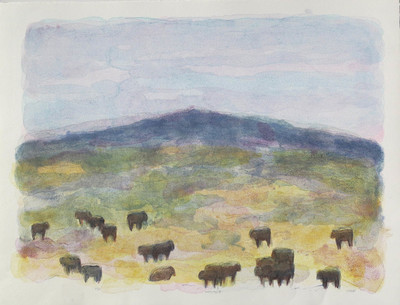 Title: Gallatin Angus I , Size: 34 x 45 inches , Medium: Hand Colored Lithograph , Signed: Signed , Edition: of 60