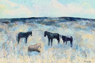 Title:      Lima Horses , Size: 40 x 60 inches , Medium: Oil, Encaustic on Canvas , Signed: L/R