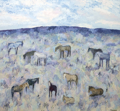 Title:      Picabo Horses #6 , Size: 72 x 78 inches , Medium: Oil, Encaustic on Canvas , Signed: L/R