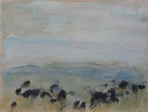 Title:   Grass Range Angus Dr. #2 , Size: 30 x 40 inches , Medium: Oil, Encaustic, Graphite on Paper , Signed: L/R , Edition: Original