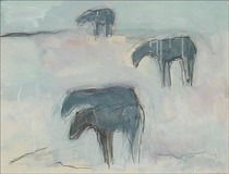 Title:   Winter Horses Dr. #13 , Size: 20 x 26 inches , Medium: Oil on paper , Signed: Signed , Edition: Original