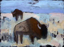 Title:   Red Rock Buffalo Dr. #3 , Size: 22 x 30 inches , Medium: Oil, Encaustic, Graphite on Paper