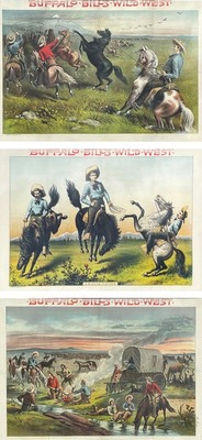 Title: Buffalo Bill's Wild West (tripych) , Date: c. 1885 , Size: Each Full Sheet: 29 x 42 inches , Medium: Vintage Lithograph
