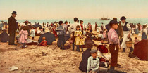 Title: At the Beach at Coney Island , Date: 1902 , Size: 3 x 7 inches , Medium: Chromolithograph