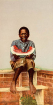 Title: Watermelon Jake , Date: 1901 , Size: 7 x 3 inches , Medium: Chromolithograph , Edition: Vintage