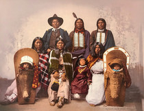 Title: 50324 Ute Chief Sevana and Family , Date: 1900 , Size: 13 3/8 x 10 1/8 inches , Medium: Photochrom (Large format) , Edition: Vintage