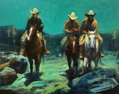 Title: Night Riders , Size: 11 x 14 inches , Medium: Oil on Panel , Signed: L/L , Edition: Original