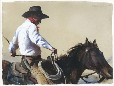 Title: Nevada Horseman , Size: 18 1/2 x 24 inches , Medium: Watercolor , Signed: Signed , Edition: Original